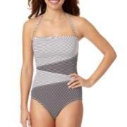 Liz Claiborne® Spliced Bandeau One-Piece Swimsuit
