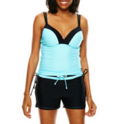 Free Country® Double-Strap Adjustable Tankini Swim Top or Drawstring Swim Shorts