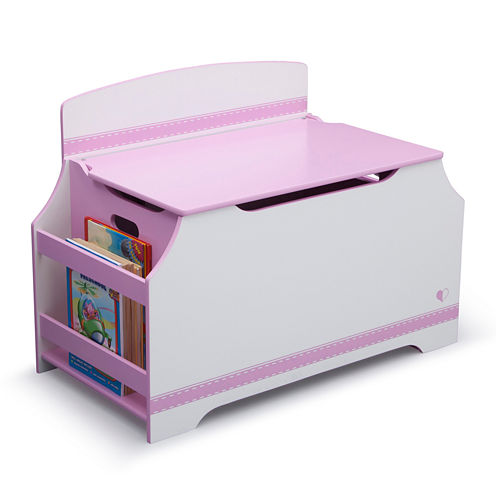 Jack & Jill Deluxe Toy Box with Book Rack - Pink and White