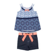 Little Lass® Tank Top and Denim Shorts Set - Toddler Girls 2t-4t