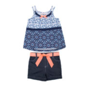 Little Lass® Aztec Floral Tank Top and Shorts Set - Preschool Girls 4-6x