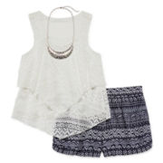 Knit Works® Crochet Tank, Necklace and Short Set - Girls 7-16