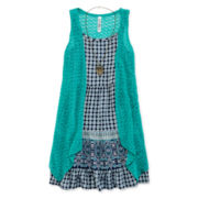 Knit Works® Sleeveless Medallion Dress, Cozy and Necklace Set - Girls 7-16