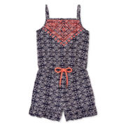 My Michelle® Embroidered Medallion-Print Romper - Girls 7-16