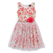 Lilt Sleeveless Floral Overlay Dress - Girls 7-16