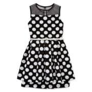 Marmellata Belted Illusion-Neck Polka-Dot Dress - Girls 7-16