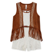 Knit Works® Belted Lace Romper with Fringe Vest - Girls 7-16