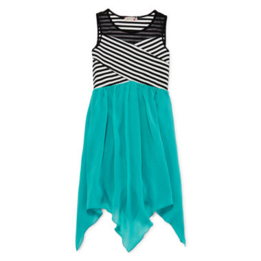 jcpenney.com | Speechless® Stripe Illusion Neck Sharkbite Dress - Girls 7-16