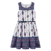 Knit Works® Sleeveless Scuba Skater Dress with Necklace - Girls 7-16