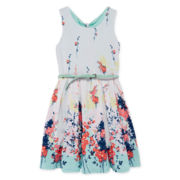 Knit Works® Floral Belted Scuba Skater Dress - Girls 7-16
