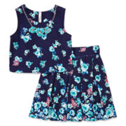 Knit Works® Sleeveless Floral Top, Skater Skirt and Necklace Set - Girls 7-16