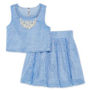 Knit Works® Sleeveless Lace Top, Skirt and Necklace Set – Girls 7-16