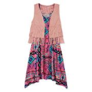Kandy Kiss Aztec-Print Sharkbite Dress with Faux-Suede Fringe Vest - Girls 7-16