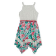 Disorderly Kids® Belted Lace and Floral Sharkbite Dress - Girls 7-16