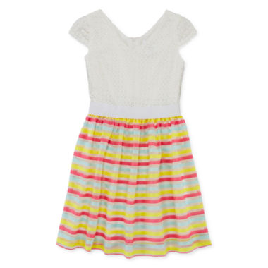 jcpenney.com | Lavender By Us Angels Lace Striped Dress - Girls 7-16