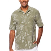 Island Shores™ Short-Sleeve Silk Jacquard Camp Shirt