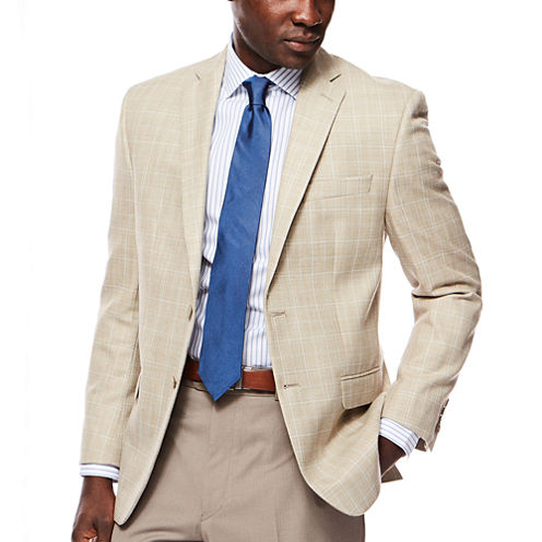 Collection by Michael Strahan Tan Plaid Sport Coat - Classic Fit