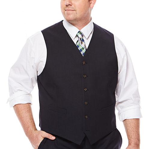 Stafford® Travel Medium Blue Suit Vest - Big & Tall Fit