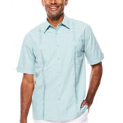 The Havanera Co.® Short-Sleeve Embroidered Double Pocket Woven Shirt