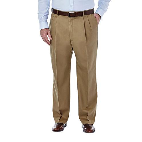 Haggar® Premium No Iron Classic-Fit Pleated Khakis - Big & Tall
