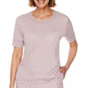 Alfred Dunner® Lavender Fields Short-Sleeve Sweater Shell - Petite