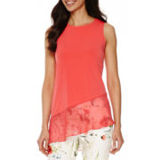 Worthington® Sleeveless Chiffon-Trim Asymmetrical Top - Tall