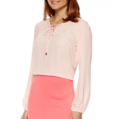jcpenney.com | Worthington® Long-Sleeve Lace-Up Blouse