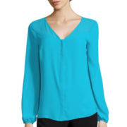 Worthington® Long-Sleeve Chiffon-Yoke Blouse - Tall