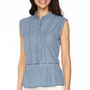 Levi's® Sleeveless Denim Peplum Top