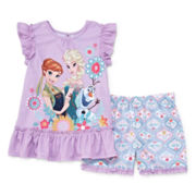 Disney Collection Frozen Cap-Sleeve Top and Shorts Pajama Set - Girls 2-10