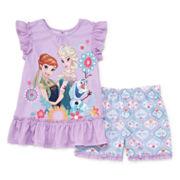 Disney Collection Frozen Cap-Sleeve Top and Shorts Pajama Set - Girls 2-10