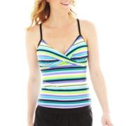 Beach Native® Striped Crossover X-Back Tankini Swim Top