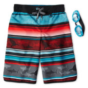 Zero Xposur® Shark Tooth Board Shorts - Boys 6-18