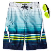 Zero Xposur® Navy Dune Striped Board Shorts - Boys 6-18
