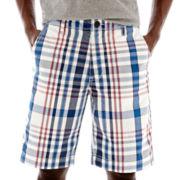 Arizona Flat-Front Plaid Shorts
