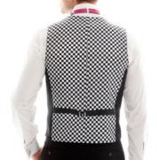 JF J. Ferrar® Back-Printed Slim-Fit Checkered Vest