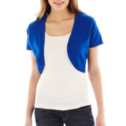 Takeout Short-Sleeve Pointelle-Back Shrug
