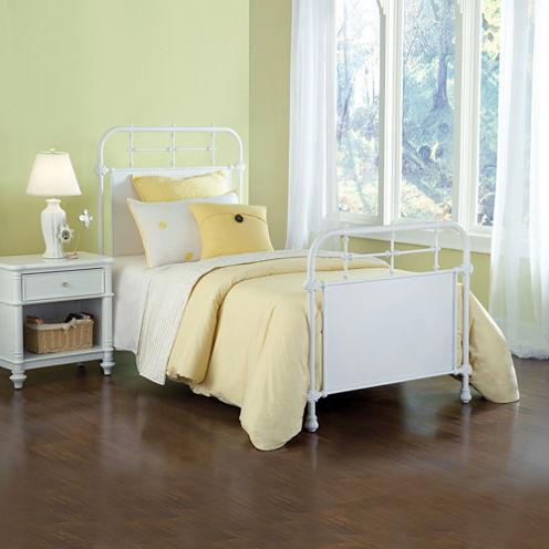 Elliot White Metal Bed or Headboard