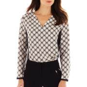 Worthington® Long-Sleeve V-Neck Woven Blouse - Petite