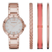 Liz Claiborne® Womens Rose-Tone Watch and Bangle Set