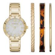 Liz Claiborne® Womens Gold-Tone Watch and Bangle Set