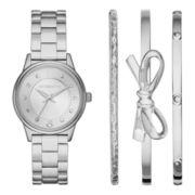 Liz Claiborne® Womens Silver-Tone Watch and Bangle Set