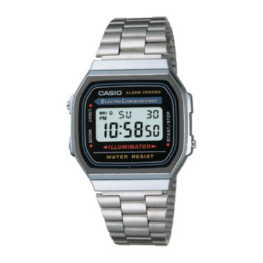 jcpenney.com | Casio® Illuminator Mens Stainless Steel Square Digital Watch A168WA-1OS