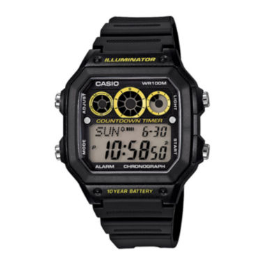 jcpenney.com | Casio® Illuminator Mens Black Resin Strap Square Sport Watch AE1300WH-1OS