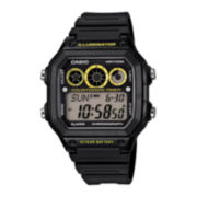 Casio® Illuminator Mens Black Resin Strap Square Sport Watch AE1300WH-1OS