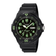Casio® Mens Black Resin Strap Diver Sport Watch MRW200H-3BV