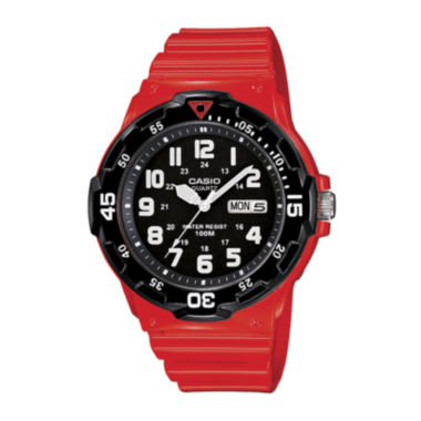 jcpenney.com | Casio® Mens Red Resin Strap Diver Sport Watch MRW200HC4BOS