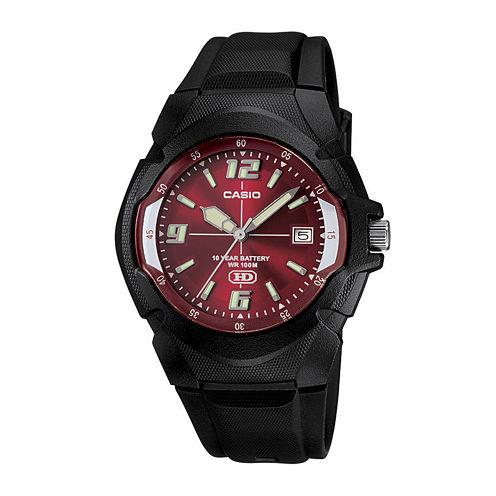 Casio® Mens Red Dial Black Resin Strap Sport Watch MW600F-4AVOS