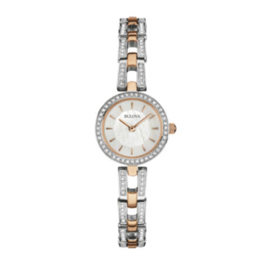 jcpenney.com | Bulova® Womens Crystal-Accent Rose-Tone Stainless Steel Bracelet Watch 98L212