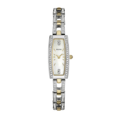 jcpenney.com | Bulova® Womens Crystal-Accent Two-Tone Stainless Steel Tonneau Watch 98L214
